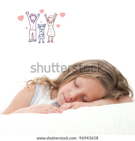 High key concept portrait of sweet little girl dreaming. Isolated on white background.
