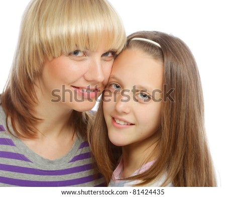 High key portrait of a little girl with her happy mom isolated on white
