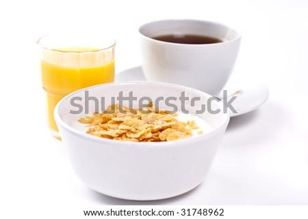 High key studio shot of a healthy breakfast. Shallow depth of field. - stock photo