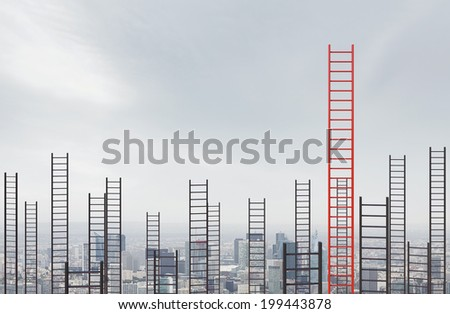 High ladders into the cloudy sky - stock photo