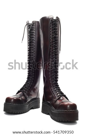 High Leather boots, isolated over white with clipping path