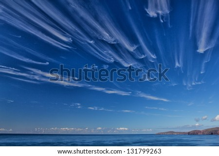 high level wind racing cirrus clouds towards Cape Wrath, the most north westerly point on the UK mainland.