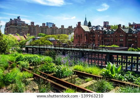 HIgh Line. Urban public park on an historic freight rail line, New York City, Manhattan. - stock photo