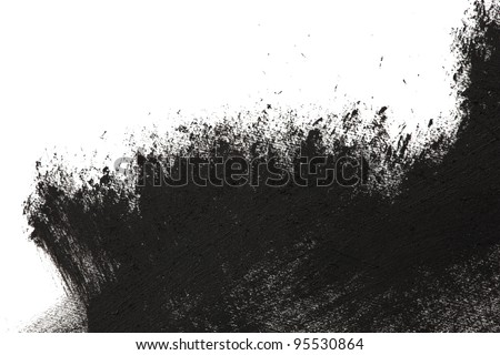 High magnification brush stroke texture. Black paint, isolated on white. - stock photo