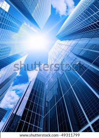 High modern buildings - stock photo
