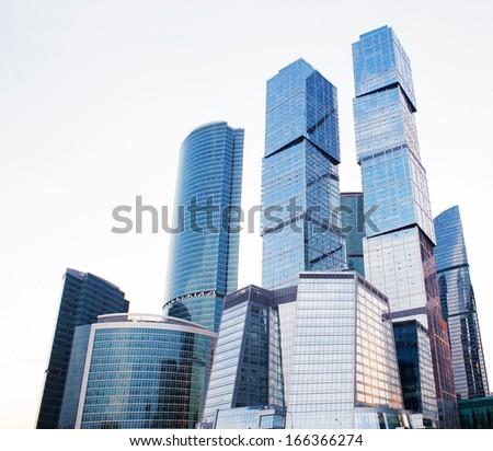 High modern skyscrapers, business center - stock photo