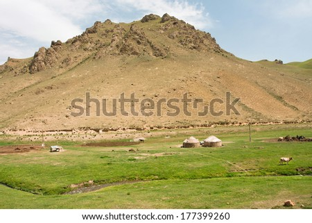 "High mountain and a small farm with Central Asian tents ""yurts"" and narrow river valley with lush grass"