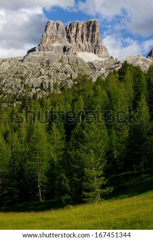 High mountain cliffs in the Dolomites - stock photo