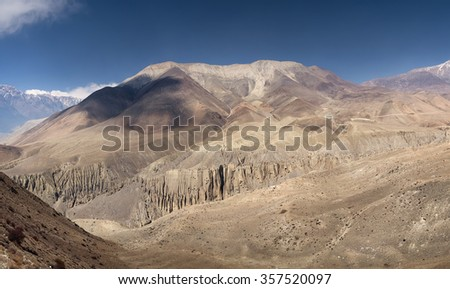 High mountain dessert in morning time. Natural panoramic landscape