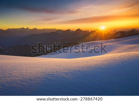 High mountain during sunrise. Beautiful natural landscape - stock photo