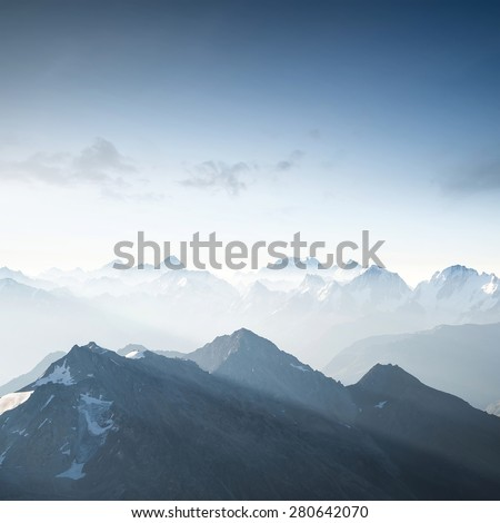 High mountain in morning time. Beautiful natural landscape - stock photo