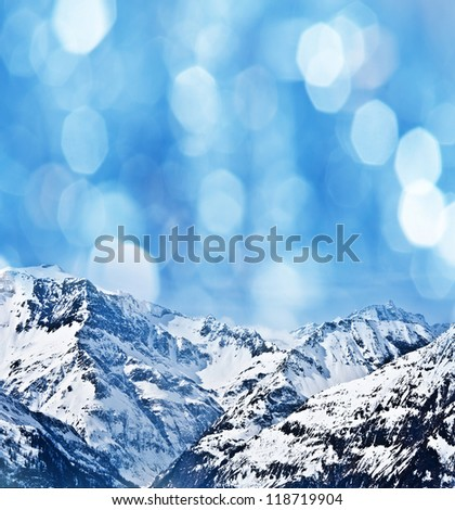 high mountain in the winter time - stock photo