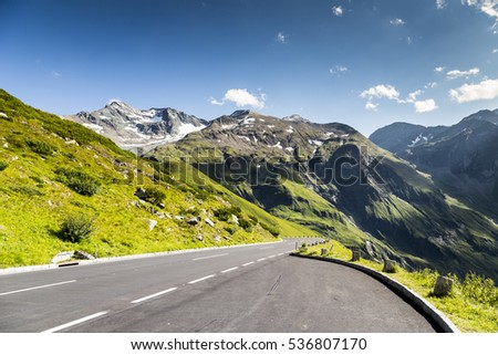 High mountain pass road in Austria