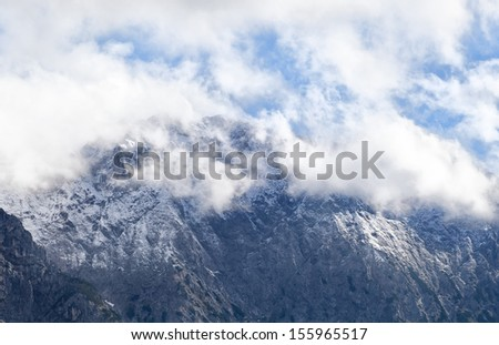 high mountain peak in white clouds, Bavarian Alps, Germany