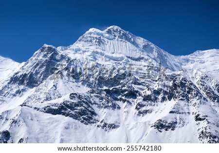 High mountain peak. Natural landscape - stock photo
