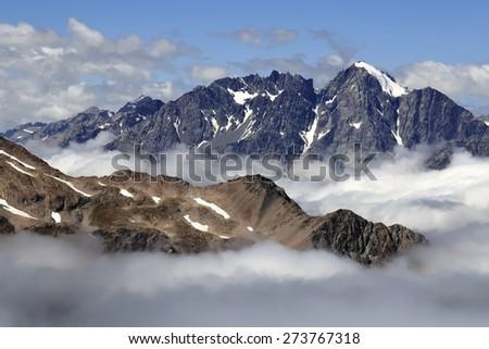 High mountain range in Aoraki National park, New Zealand. - stock photo