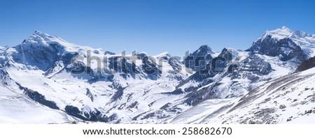 High mountain range. Natural panoramic composition - stock photo