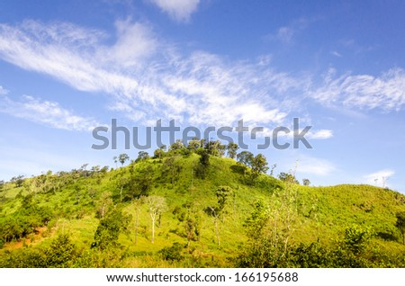 High mountain with blue sky