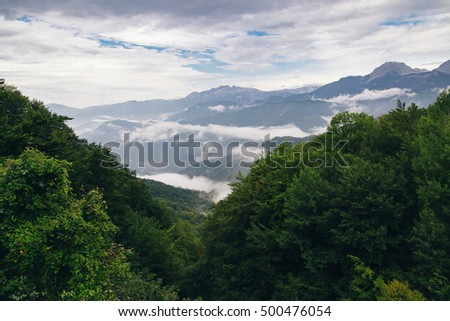High mountains and clouds, beautiful nature landscape