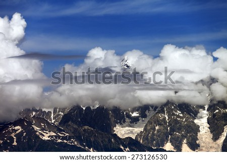 High Mountains covered with clouds. Caucasus Mountains, Georgia. - stock photo