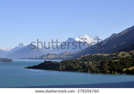 High mountains landscape near Wakatipu lake in New Zealand. - stock photo