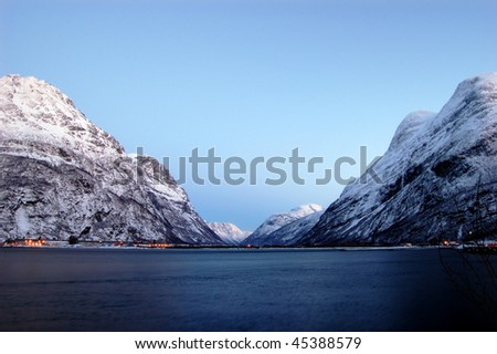 high mountains on twilights in Norway, winter - stock photo