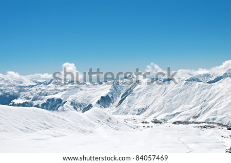 High mountains under snow in the winter