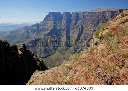 High peaks of the Drakensberg mountains, Royal Natal National Park, South Africa - stock photo