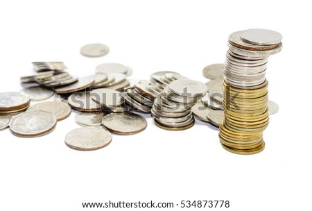 High pile of gold and silver coins thailand on white background