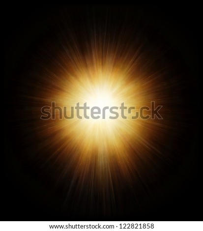 High power explosion isolated on black - stock photo