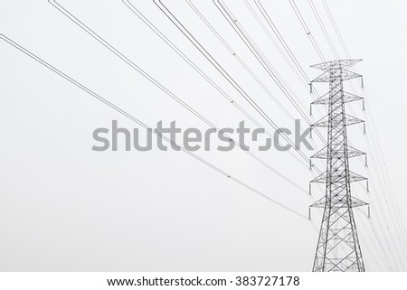 high power voltage tower on white background