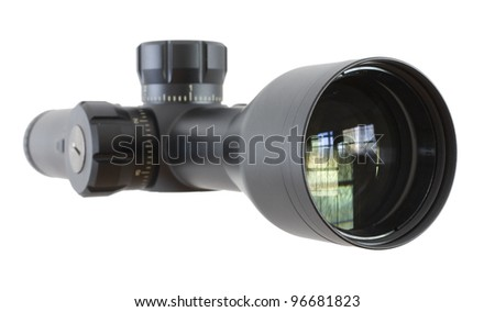 High powered rifle scope from the objective lens side isolated on white
