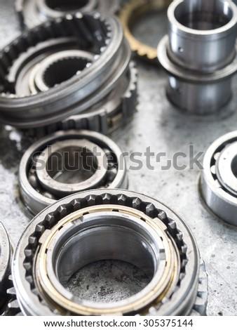 high precision automotive gear box close-up - stock photo