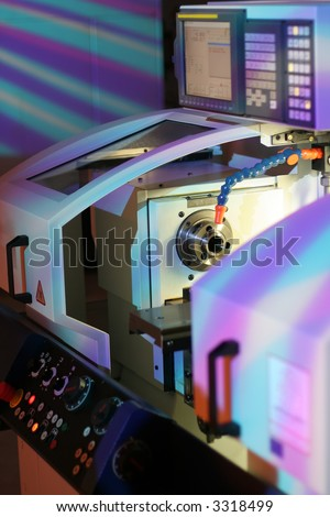 High precision lathe with display. - stock photo