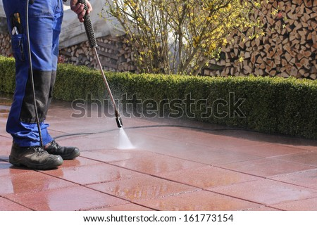High-pressure cleaner, terrace - stock photo
