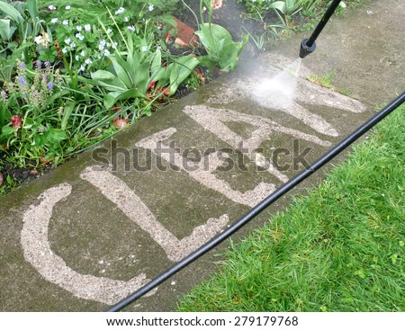 high pressure cleaning - stock photo