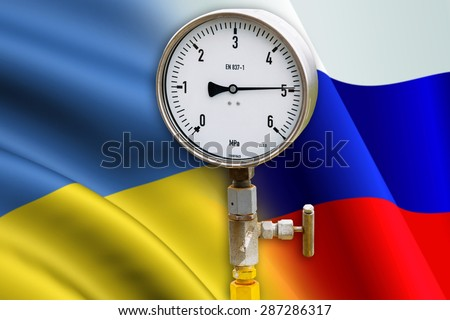 High pressure reading on gas wellhead isolated on flags Ukraine and Russia