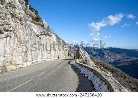 high provence mountain road in france - stock photo