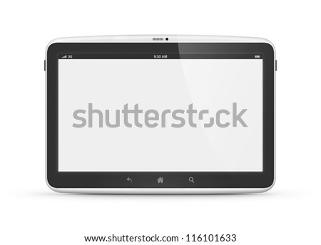 High quality and very detailed realistic illustration of modern digital android tablet computer with blank screen isolated on white.