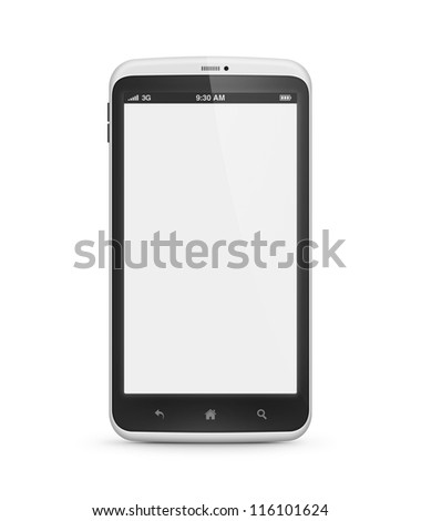 High quality and very detailed realistic illustration of modern mobile smartphone with blank screen isolated on white. Include clipping path for phone and screen. - stock photo