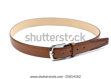 High quality brown leather belt isolated on white background.
