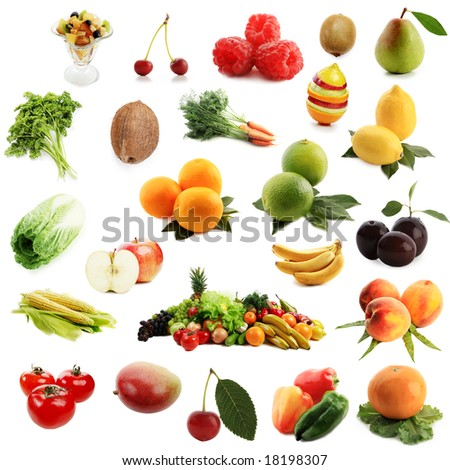 High quality collection of fruits and vegetables on white background