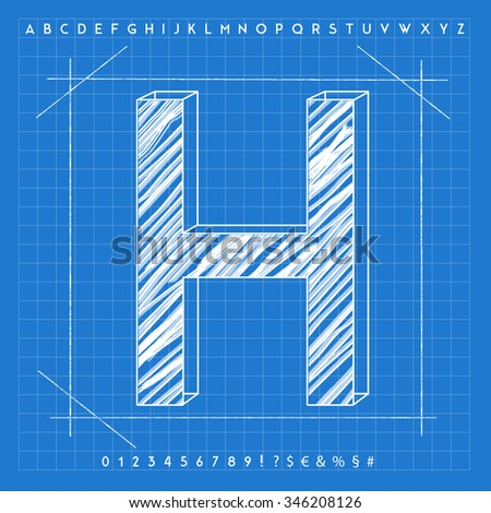 High quality 3 d blueprint font letter stock illustration 346208126 high quality 3d blueprint font letter h malvernweather Image collections