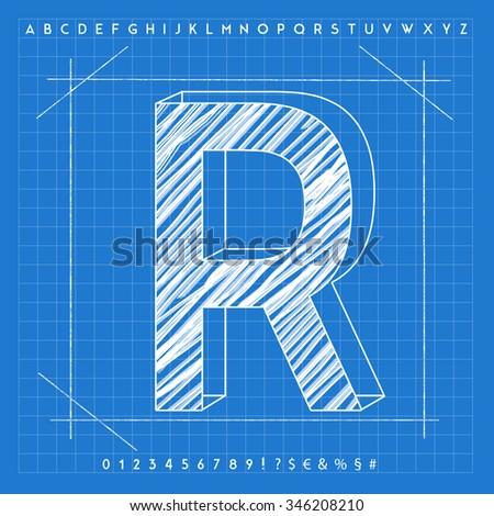 High quality 3 d blueprint font letter stock illustration 346208210 high quality 3d blueprint font letter r malvernweather Choice Image