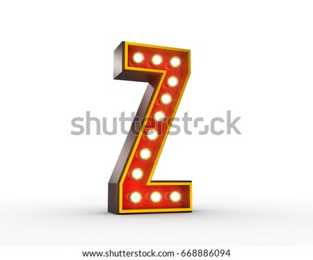High quality 3D illustration of the letter Z in vintage style with light bulbs illuminating it.