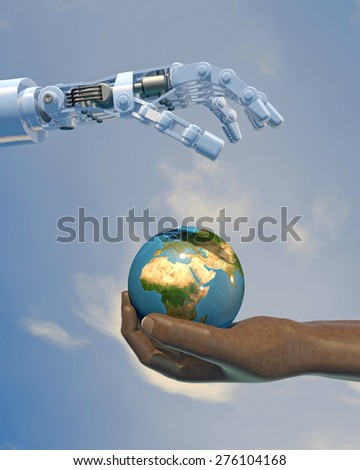 High-quality 3D render of a robot hand giving a globe to a human hand. Blue sky backdrop, focused on the Africa and the Middle East.(Earth texture from NASA - earthmap http://visibleearth.nasa.gov)
