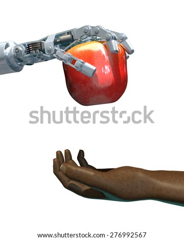 High-quality 3D render of a robot hand giving an apple to a human hand. Isolated on white background; metaphor for the increasing use of technology in food production worldwide.