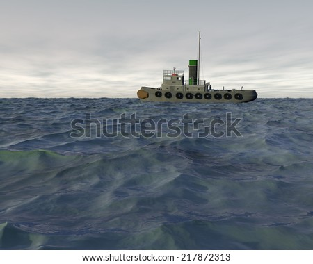 High quality 3D render of a tugboat