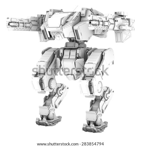 High quality 3d render of battle robot