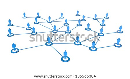 High quality 3d render of business people network connections concept. Isolated on white background - stock photo
